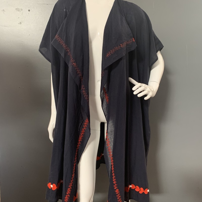 JCrew Embroidered Kimono, Navy.Red, Size: OS<br /> <br /> 100% Cotton<br /> <br /> New With Tags