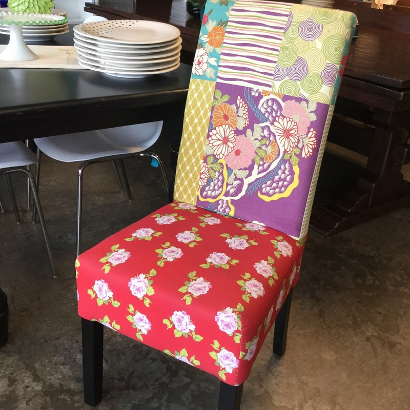 "Set of 2, Upholstered Dining Chairs, Floral & Stipes, Size: 18""Seat"