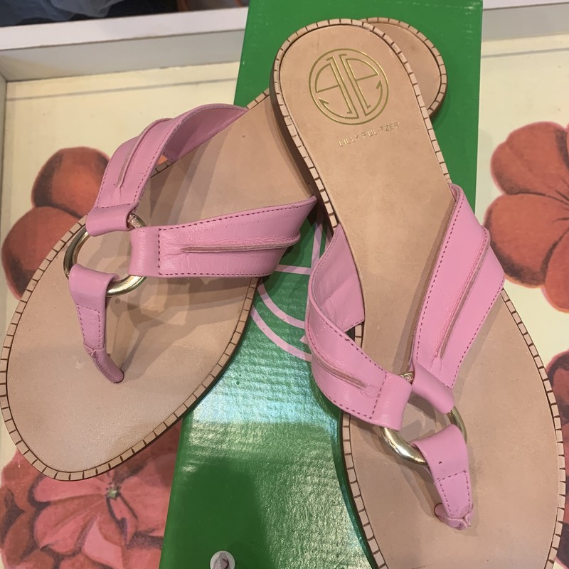 New with box, pink Lilly Pulitzer sandas in a size 8. Retails for $138.