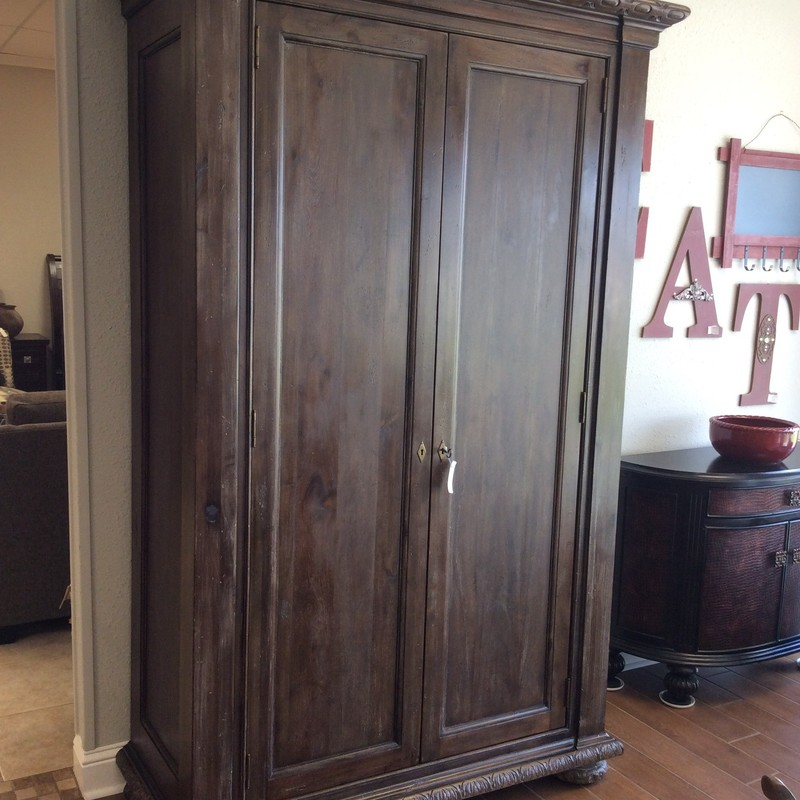 "Oh, this is a stunning piece of furniture! Our French Empire Armoire is a statement piece and will dominate the room in which it resides. It towers at 88"" and features 4 shelves, 2 of which are adjustable. They are wide and deep - perfect for storing or displaying. There is also a closet rod and it has been outfitted to accomodate media. Beauty and function! Key included."
