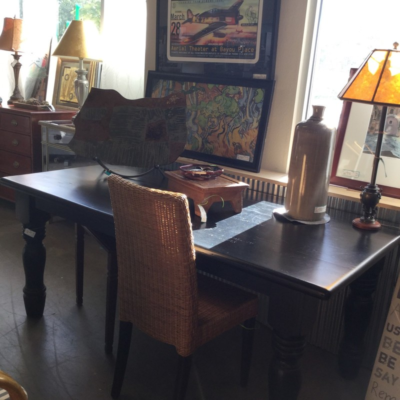 "Black Dining Table/Desk, Rustic, Size: 72""x35""X30"""