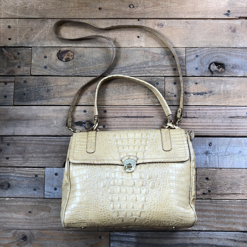 "Brahmin Leather Handbag<br /> Color: Yellow<br /> Size: 13"" x 10"" x 5"""