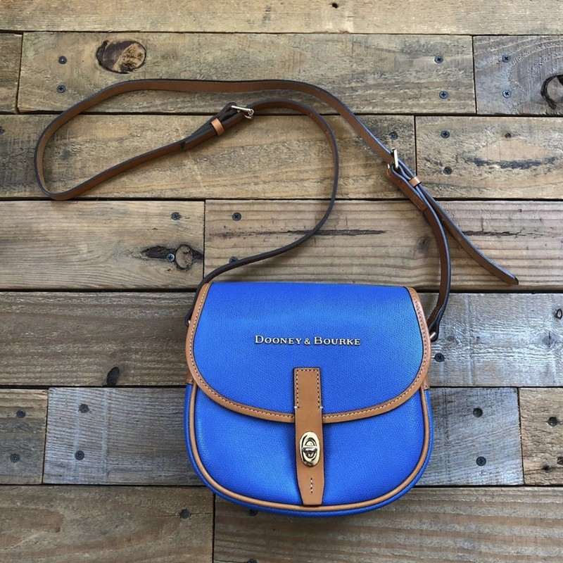 "Dooney & Bourke Leather Crossbody<br /> Color: Blue, Brown<br /> Size: 8.5"" x 8"" x 3"""