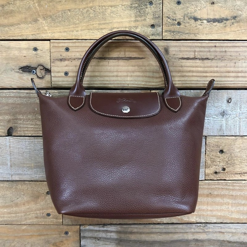 "Longchamp Leather Handbag<br /> Color: Brown<br /> Size: 12"" x 8"" x 5"""