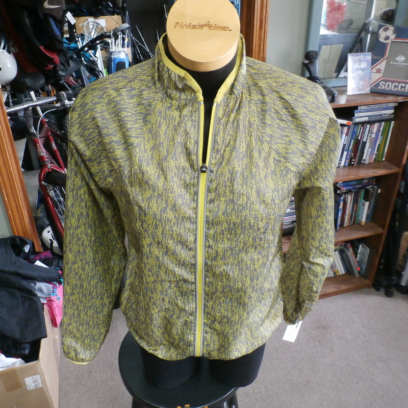 "BGR8 yellow and grey full zip running jacket size Small polyester #34345<br /> Rating: (see below) 3- Good Condition<br /> Team: n/a<br /> Player: n/a<br /> Brand: BGR8<br /> Size: Women's Small- (Measured Flat: Across chest 19""; Length 24"")<br /> Measured Flat: underarm to underarm; top of shoulder to bottom hem<br /> Color: yellow<br /> Style: long sleeve; full zip<br /> Material: 100% polyester<br /> Condition: 3- Good Condition: minor wear and discoloration from use and washing (see photos)<br /> Item #: 34345<br /> Shipping: FREE"