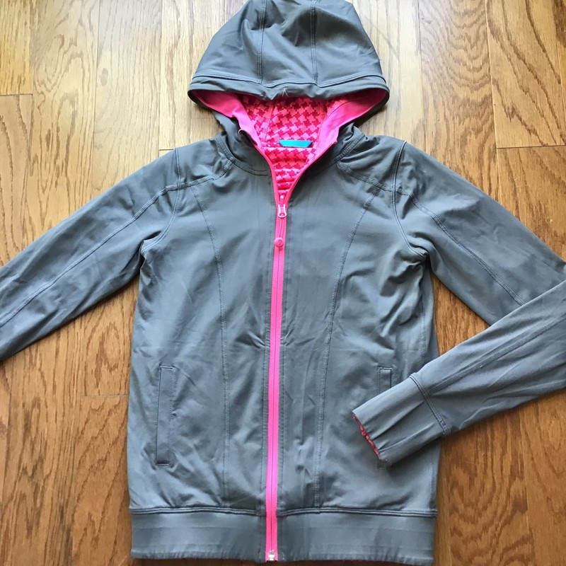 Ivivva Reversible Zip Up, Gray, Size: 10<br /> <br /> <br /> Light staining along the cuffs. Not major. Reversible.<br /> <br /> <br />  ALL SALES ARE FINAL. NO RETURNS OR EXCHANGES.
