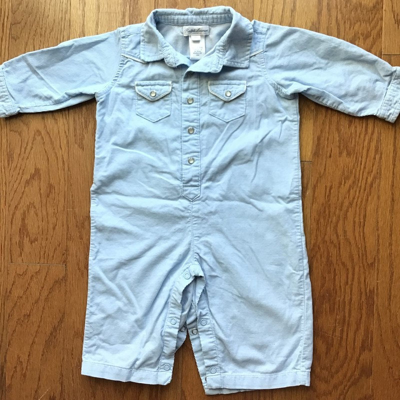 Ralph Lauren Romper, Blue, Size: 9m<br /> <br /> Light cord<br /> <br /> ALL SALES ARE FINAL. NO RETURNS OR EXCHANGES.