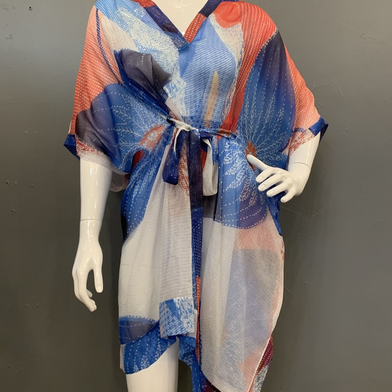 DVF Lima Kaftan With Foil, Red.Blu, Size: S<br /> <br /> 74% Silk, 26% Nylon<br /> <br /> New With Tags