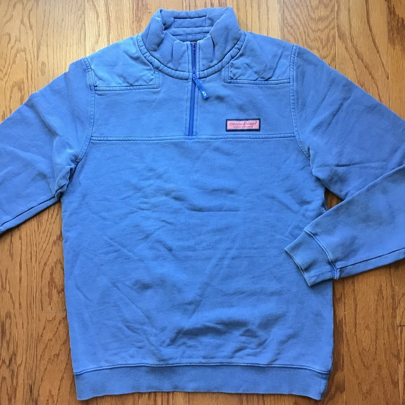Vineyard Vines Pullover, Blue, Size: 16-18<br /> <br /> <br /> TAGGED SIZE 18 BUT LOOKS LIKE IT RUNS SMALL. HAS FADING AND WASH WEAR, TYPICAL OF THIS BRAND.<br /> <br /> ALL ONLINE SALES ARE FINAL. NO RETURNS OR EXCHANGES.