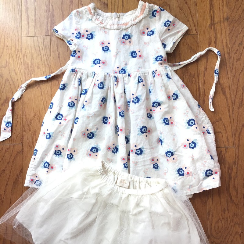 Mini Boden Dress W Skirt, Multi, Size: 4-5<br /> <br /> <br /> Linen fabric. Come with Boden mesh skirt to be worn underneath the dress.<br /> <br /> <br /> ALL ONLINE SALES ARE FINAL. NO RETURNS OR EXCHANGES.