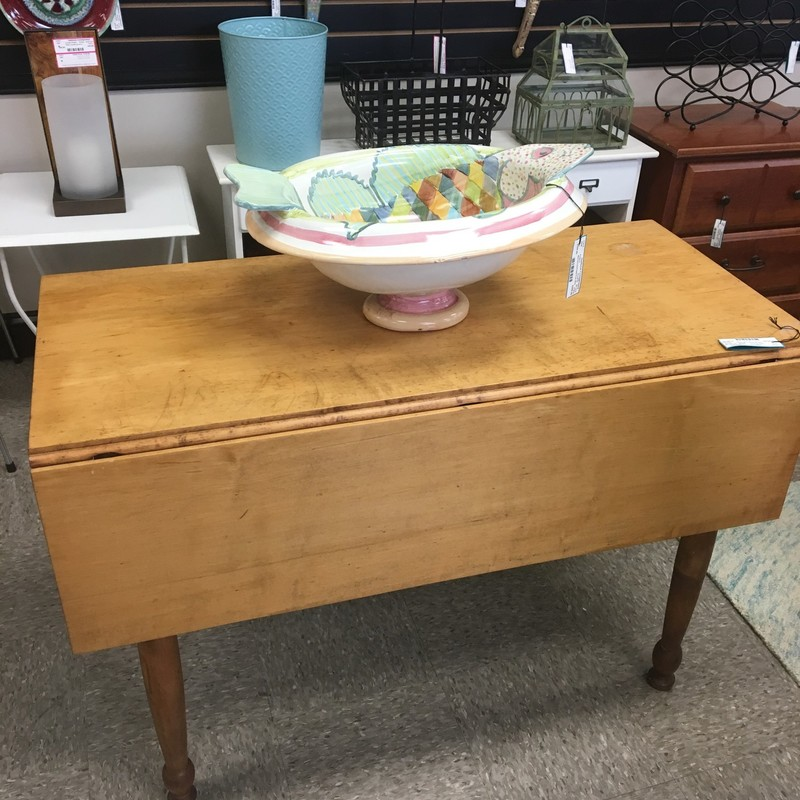 Vintage Drop Leaf Table, Maple, Size: 42x20x29