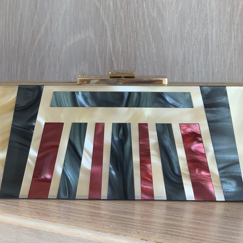 Halston Heritage deco style lucite clutch<br /> <br /> Excellent condition, with tags