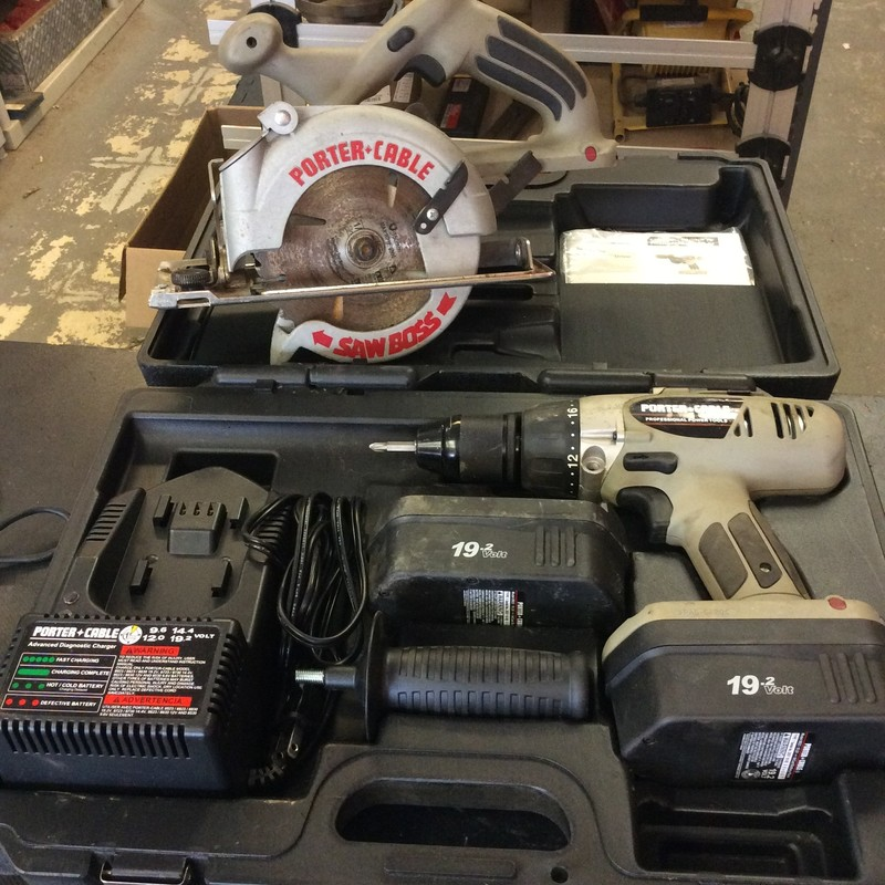 Porter Cable 19.2V Combo Kit. Includes Drill Driver, Saw Boss Circular Saw, 2 Batteries, & Charger