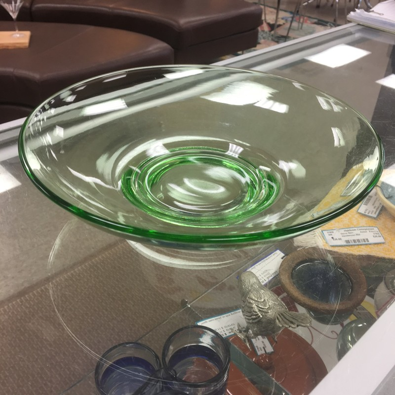 Shallow Glass Bowl, Green, Size: 11x3 Inch
