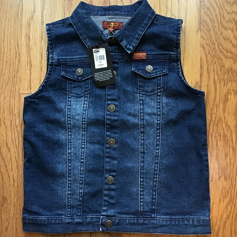 7 For All Mankind Vest NE, Denim, Size: 4<br /> <br /> <br /> BRAND NEW WITH TAG<br /> <br /> <br /> ALL ONLINE SALES ARE FINAL. NO RETURNS OR EXCHANGES.