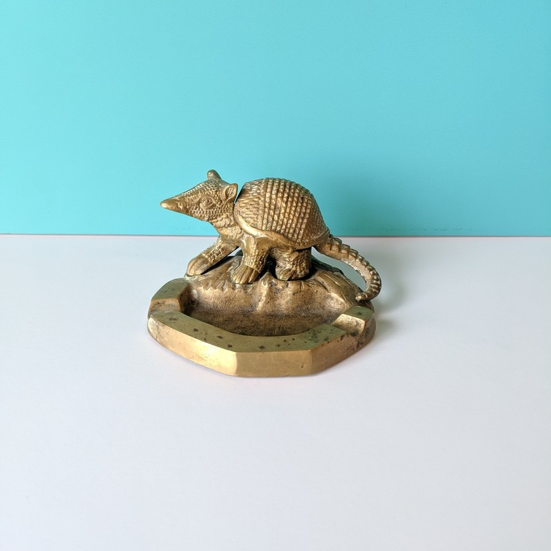 "Armadillo Ashtray<br /> Brass<br /> Size: 4.5""wide"