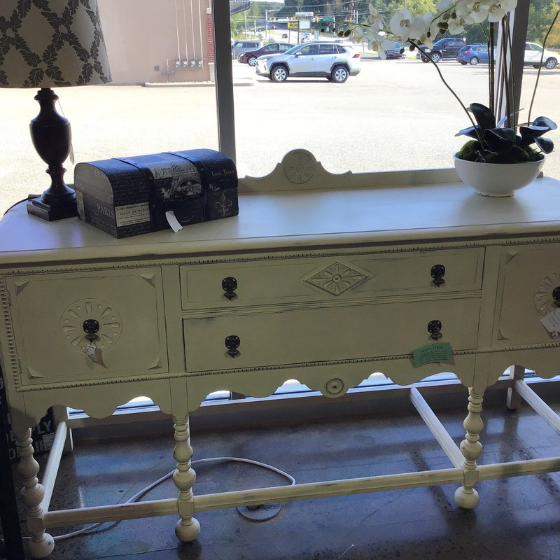 "This beautifully painted antique server has been updated with Country Chic's Cheesecake paint, distressed and protected with clear wax. It has two large drawers that pull out very easily and two cabinet doors on the side. This piece is absolutely gorgeous!<br /> Dimensions are 72"" x 23"" x 37"" (backsplash is 42"")"