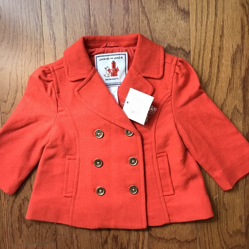 Janie Jack Coat NEW, Orange, Size: 6-12m<br /> <br /> <br /> BRAND NEW WITH TAG<br /> <br /> <br /> ALL ONLINE SALES ARE FINAL. NO RETURNS OR EXCHANGES.