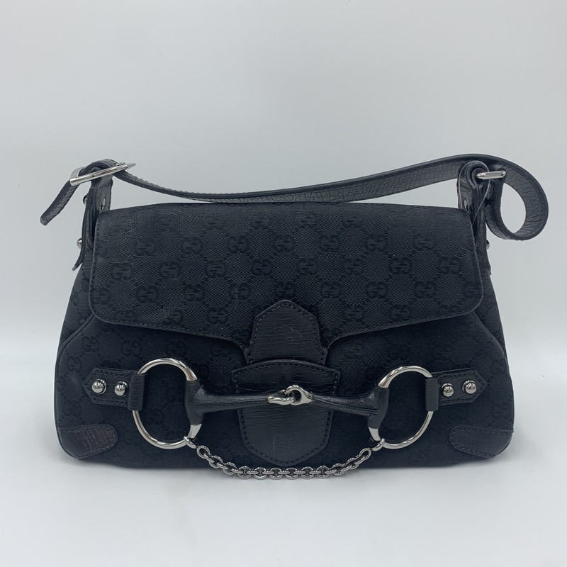"Gucci GG Horsebit Chain, Black, Size: S<br /> <br /> condition: GOOD. Light fading and wear in spots<br /> <br /> 13""W (at base) x 8""H x 3""W<br /> 7"" adjustable strap drop<br /> We guarantee the authenticity of every bag on our site. Each bag comes with either an original sales receipt or a Certificate of Authenticity from AuthenticateFirst.com. Established in 2013, AuthenticateFirst.com<br /> (http://authenticatefirst.com) is one of the premier authentication services in the US, providing authentications of designer handbags, wallets, small leather goods, footwear, jewelry, and accessories. They employee in-house experts who have decades of experience working with hundreds of luxury brands."