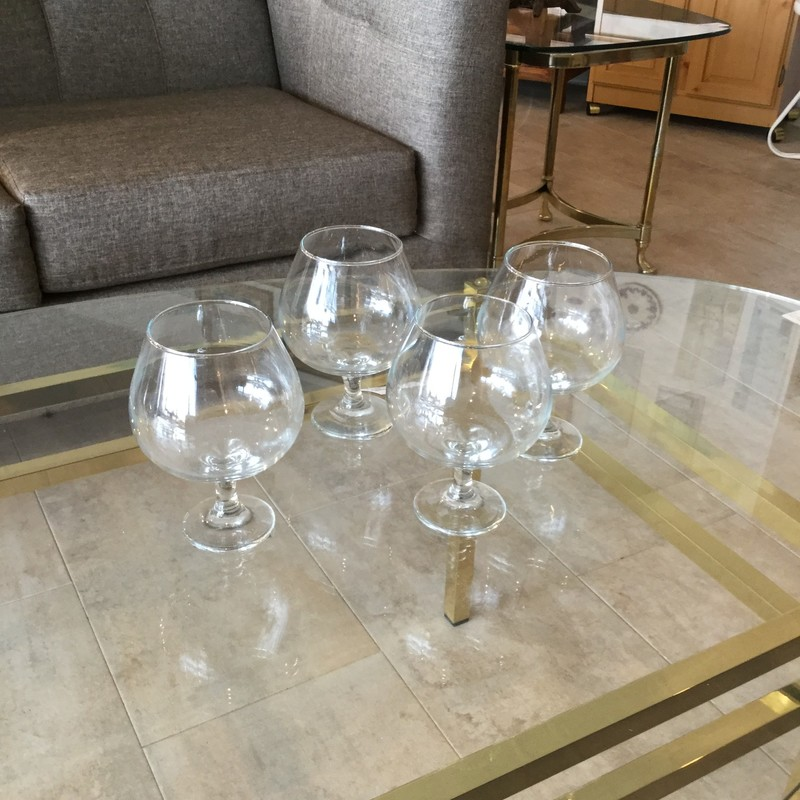 Brandy Snifter Glasses, Clear, Size: Set Of 4