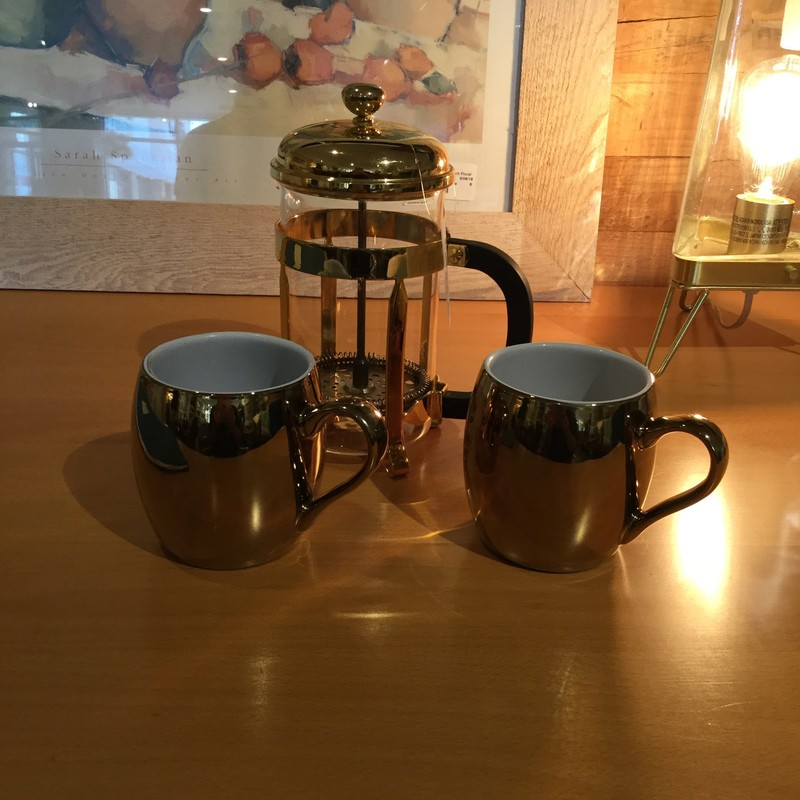 Coffee Mugs, Gold, Size: Set Of 2