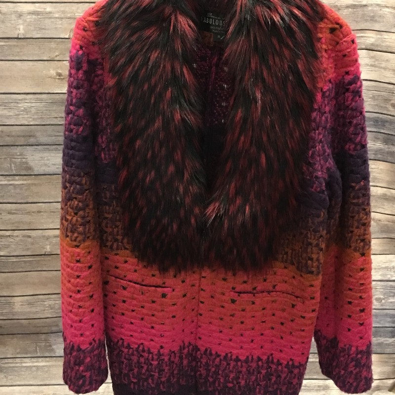 Fablouse Fur Sweater, Pink, Size: Medium