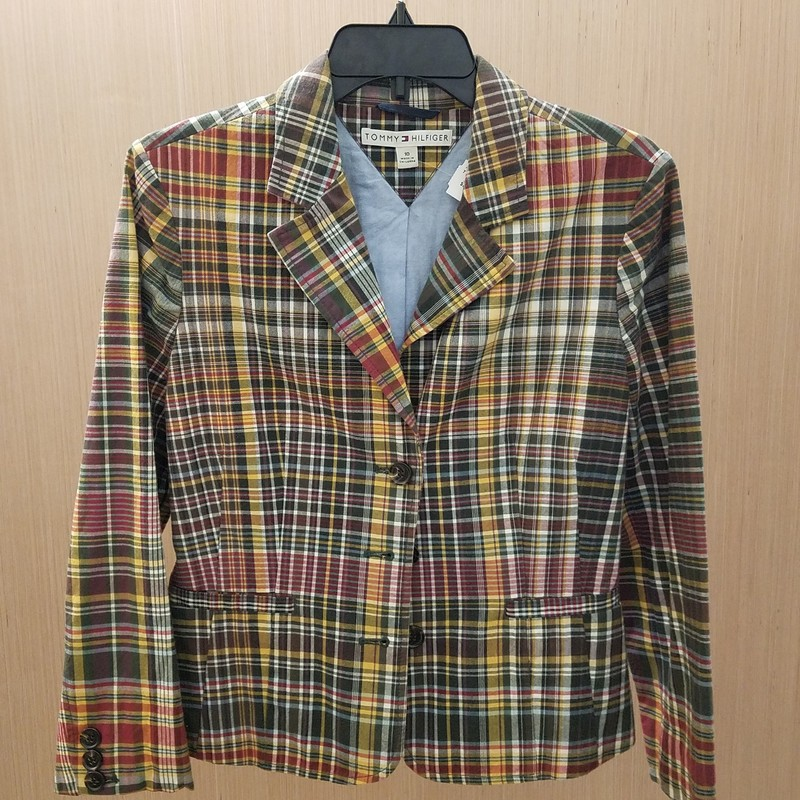 Multi-color Plaid Blazer/jacket in size 10. Faux front pockets. 100% cotton. 3 button front closure and buttone detail at sleeve.