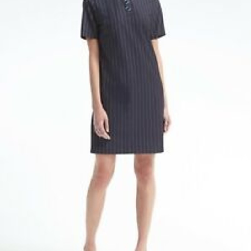 Banana Republic Navy Embellished Collar Polo Short Dress, size MP, EUC.  ORig. rtl: $148
