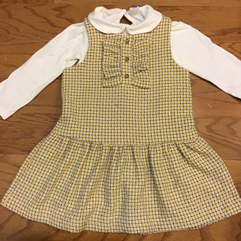 Janie Jack 2pc Dress, Yellow<br /> <br /> 2 piece tweed dress with shirt inside and bloomers<br /> <br /> <br /> ALL ONLINE SALES ARE FINAL. NO RETURNS OR EXCHANGES.