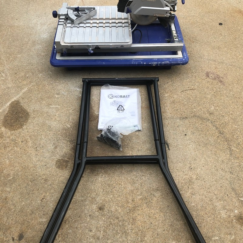 Kobalt 7-in Wet Tabletop Sliding Table Tile Saw with Stand.