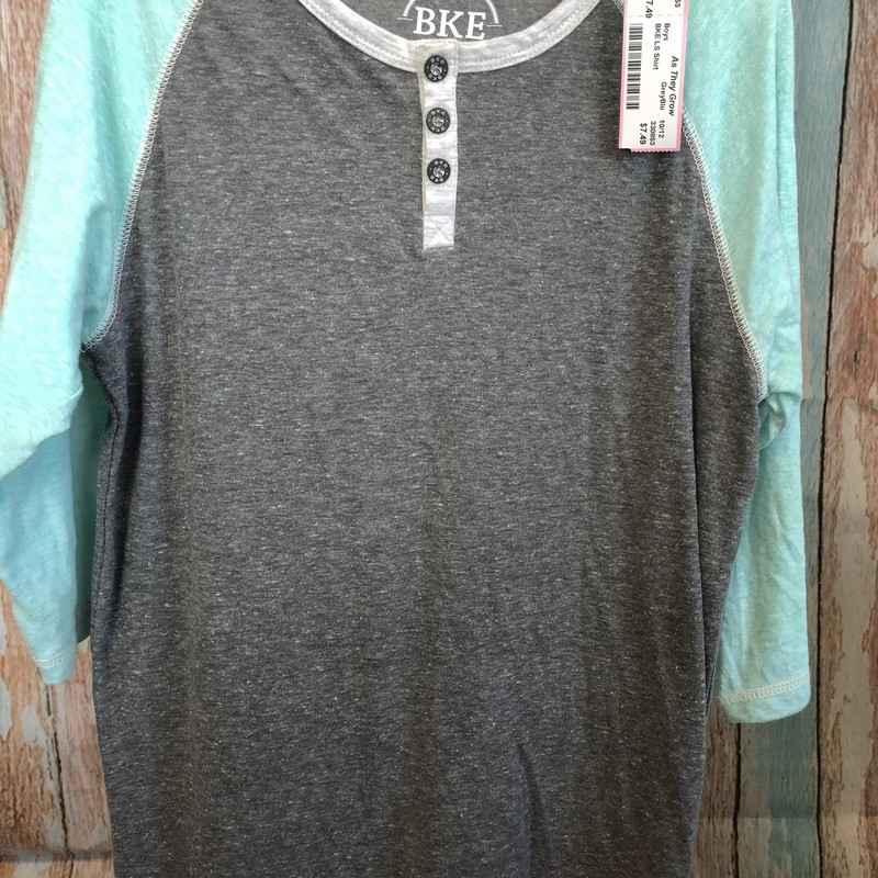 BKE 3/4 sleeve henley shirt.  The soft grey and soft aqua look great together.