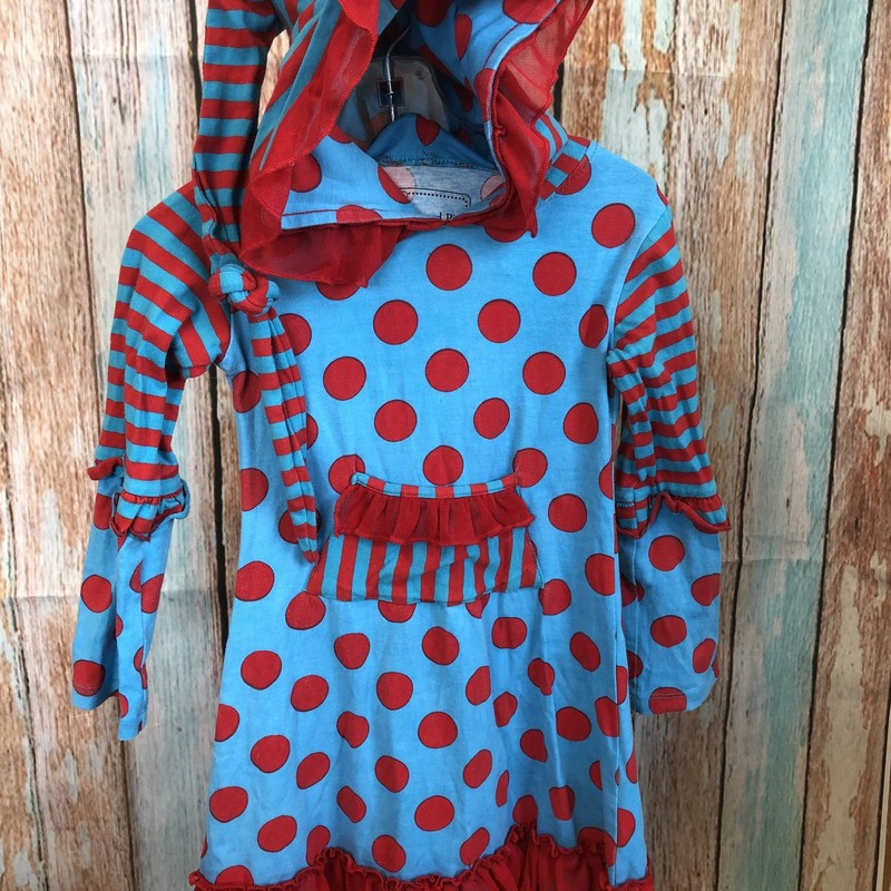 Mustard Pie long sleeve dress in dots and striped with a hood.  The hood has a long top that we have knotted in the back.  The red and blue are great together!