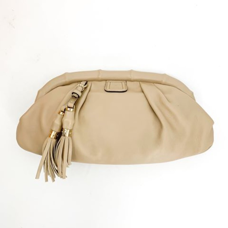 Gucci nude leather clutch, bamboo frame<br /> <br /> great condition