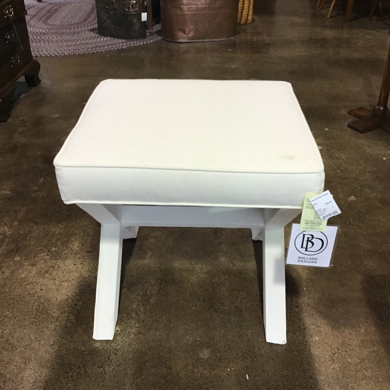 "This cream stool is perfect for the bottom of a bed, a vanity or anywhere you just need a little stool to sit down on! There are some slight stains on the upholstery, but very hard to see. The base is also fabric-covered. There are two of these, in case you want both for the bottom of a bed!<br /> Dimensions are 21"" x 21"" x 20"""