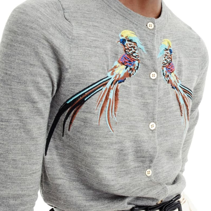 "J. crew like new condition Jackie Cardigan Sweater With Embroidered Pheasants<br /> <br /> ""This season, we're all about fun, new takes on animal prints, like this... Our wear-everywhere cardigan with colorful embroidered pheasants.<br /> <br />     Merino wool.<br />     Rib trim at cuffs and hem.<br />     Dry clean.""<br /> <br /> Photo and description credits: jcrew.com"