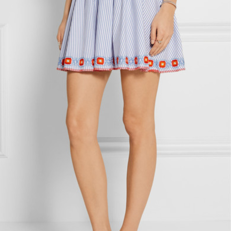 "Tory Burch Grace embroidered striped cotton Oxford mini skirt, size S/P, orig. rtl: $395<br /> <br /> ""    Tory Burch blue and white Grace skirt<br />     Striped cotton Oxford<br />     Smocked waistband, multicolored embroidery<br />     Slips on<br />     100% cotton; embroidery: 100% polyester<br />     Dry clean""<br /> <br /> photo and description credits: outnet.com"