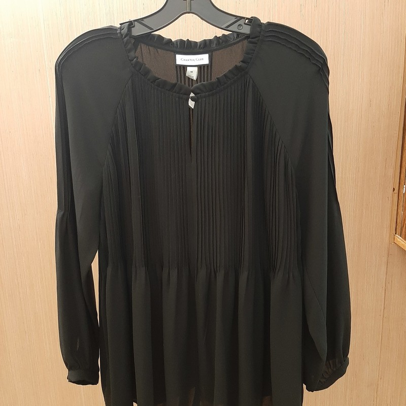 Charter Club black light weight semi sheer blouse with pleating accents at front, back and sleeves. Long sleeve, one button at neck. 100% polyester.
