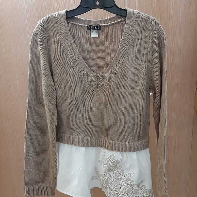Venus tan sweater with a layered look white shirt detail at hem.  Shirt detail has a flower lace design.