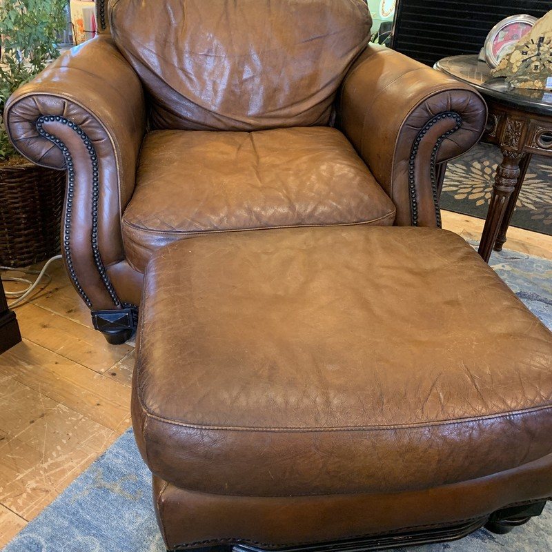 Chair & Ottoman, Leather, Size: None