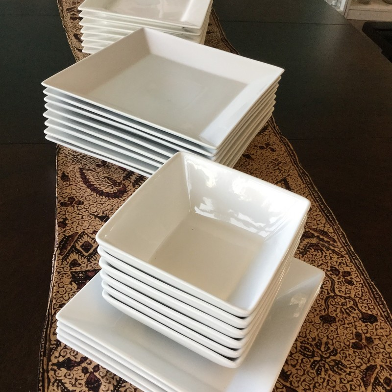 Set of 4 Square Salad Plates, White, Size: 8""