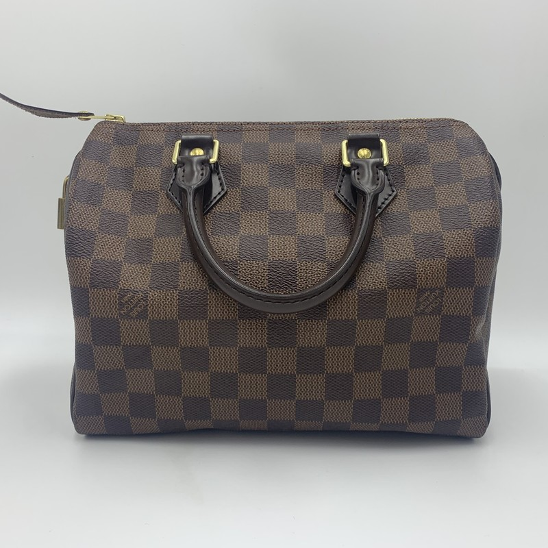 "LouisVuitton Damier Speed, Browns, Size: S<br /> <br /> condition: EXCELLENT<br /> handle monogrammed ""RG""<br /> <br /> 10""W x 7.5""H x 6""D<br /> 3.5"" handle drop<br /> no shoulder strap<br /> <br /> We guarantee the authenticity of every bag on our site. Each bag comes with either an original sales receipt or a Certificate of Authenticity from AuthenticateFirst.com. Established in 2013, AuthenticateFirst.com<br /> (http://authenticatefirst.com) is one of the premier authentication services in the US, providing authentications of designer handbags, wallets, small leather goods, footwear, jewelry, and accessories. They employee in-house experts who have decades of experience working with hundreds of luxury brands."