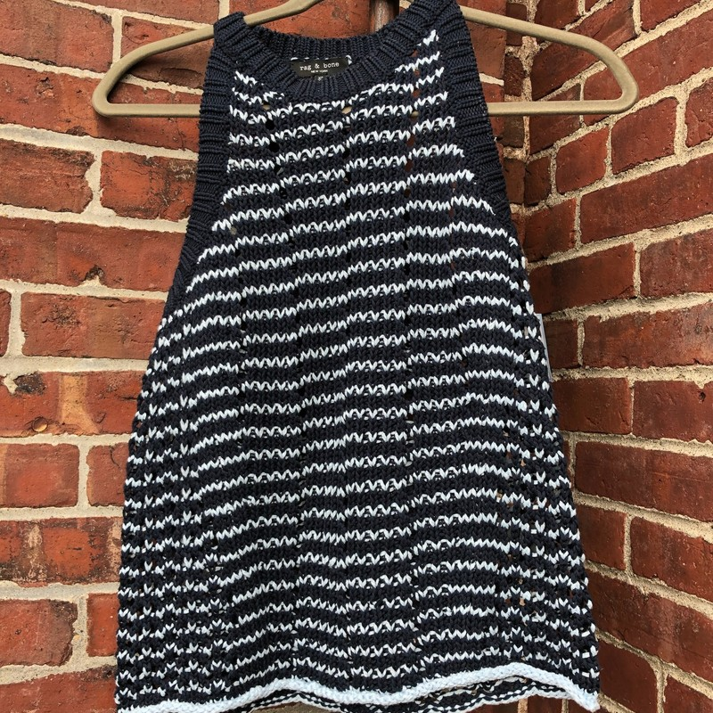 Rag & Bone, Navy Blue with pale blue stripes.  Loose knit.  Racerback style.  Scoop neck.  Size: Xs