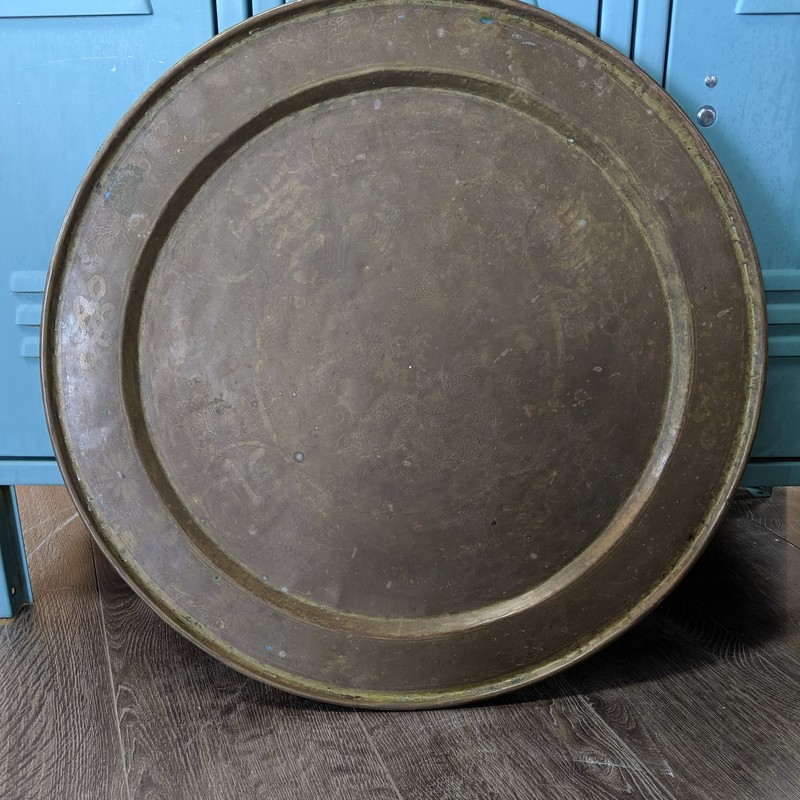 "Tray Heavy Asian Design<br /> Brass<br /> Size: 23.5"" Round"