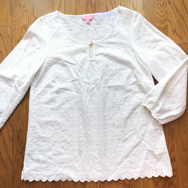 Lilly Pulitzer Eyelet Top, White, Size: Medium<br /> <br /> <br /> ALL ONLINE SALES ARE FINAL. NO RETURNS OR EXCHANGES.