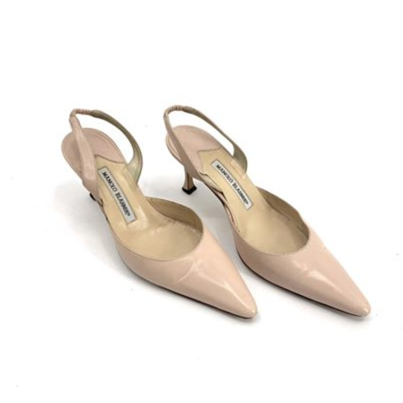 Manolo Blahnik blush leather pointy slingbacks<br /> <br /> size 7