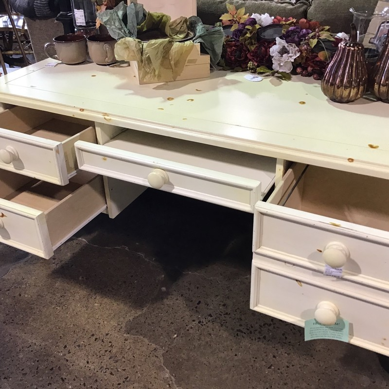 "This large executive desk is finished on all four sides, so perfect for the middle of an office. It has a flip-down middle drawer for your laptop/keyboard and plenty of drawers for storing your accessories and files!<br /> Dimensions are 66"" x 29-1/2"" x 30"""