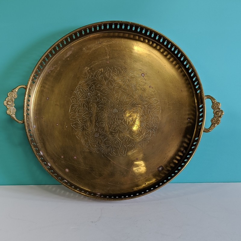 "Brass Tray with Handles<br /> Brass<br /> Size: 12"" Round"