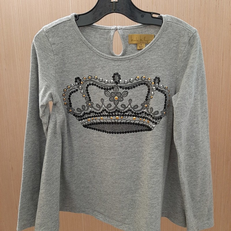 Absolutely adorable Nicole Miller girls size 5t long sleeve swing shirt. Crown design on front and button at back of neck.<br /> Feels luxurious and high fashion.