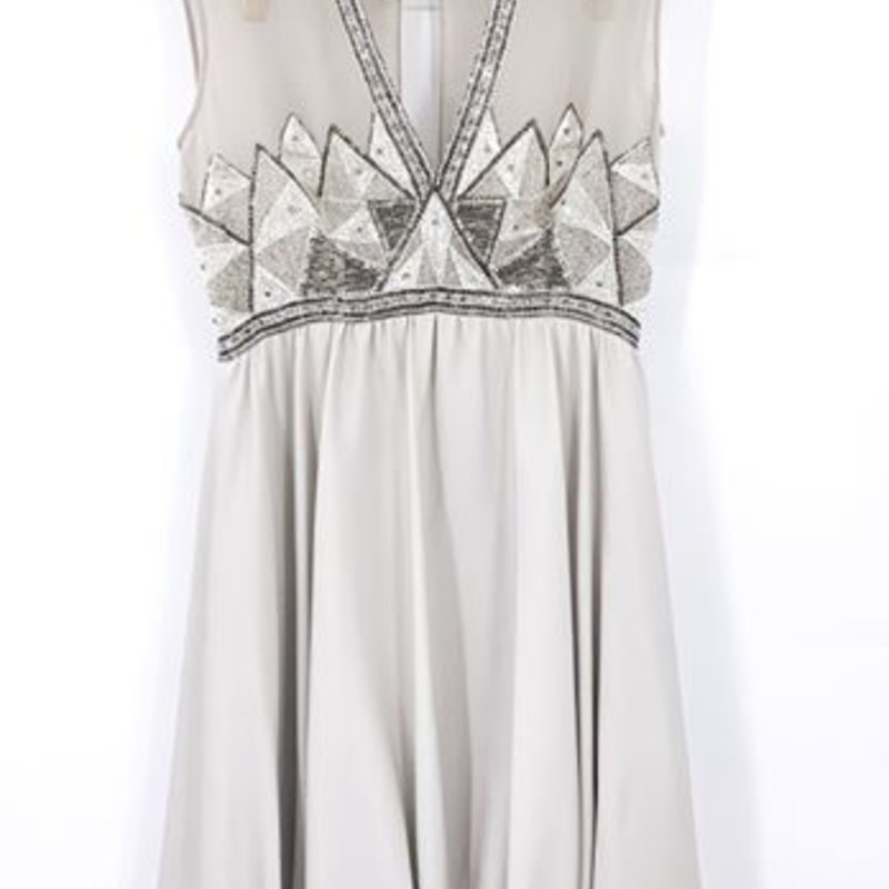 1960s grey and silver beaded cocktail dress<br /> <br /> chiffon<br /> balloon hem<br /> <br /> super cute!