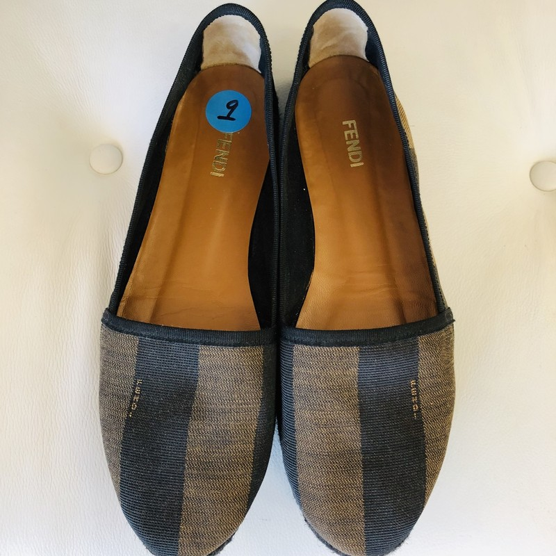 Fendi tan/black striped espadrilles, black espadrille bottom<br /> <br /> size 9
